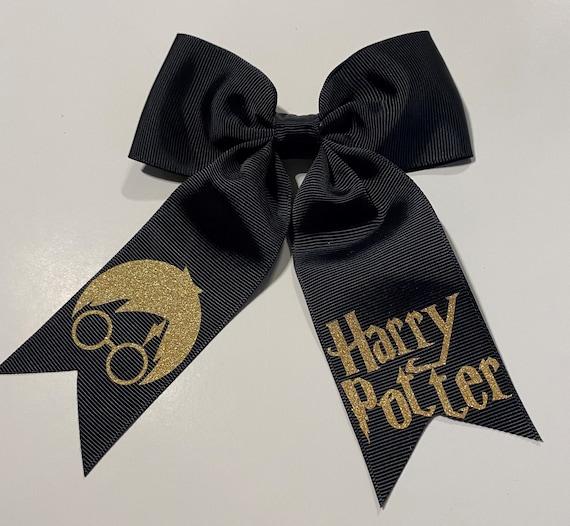 "Clip or Ponytail Girls Hair Bow 4/"" Wide Harry Potter Black Ribbon Barrette"