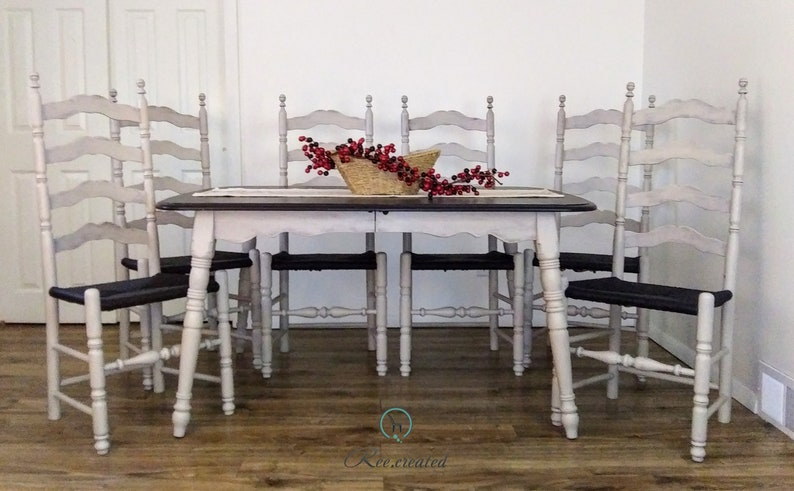 Vintage farmhouse table with 6 ladder-back chairs. Rustic, classic dining  table. Kitchen table with 6 chairs. Black and Taupe table/chairs.