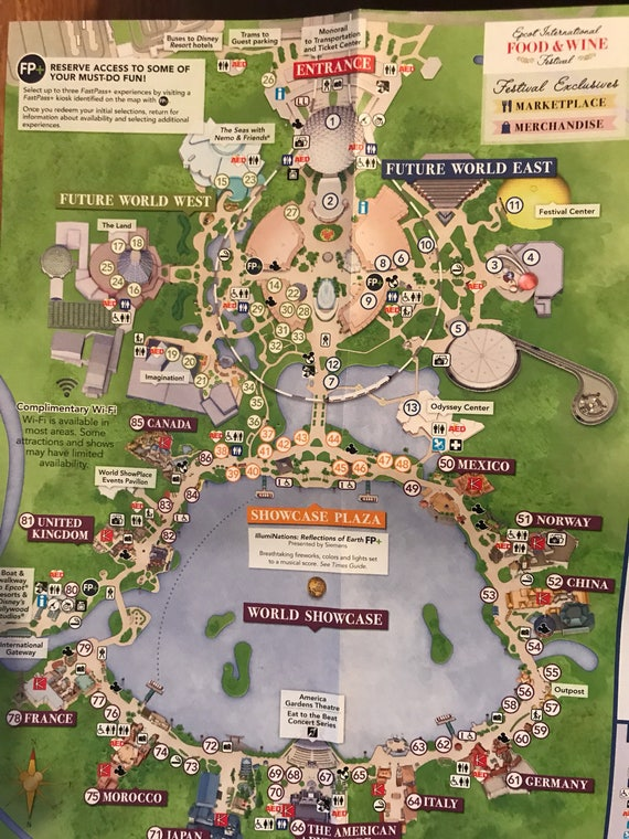 Custom Disney park map necklace - EPCOT