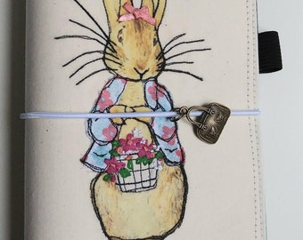 Lily on Adventure's of Peter Rabbit TN Fabric Cover, Fabric Faux Dori Traveler's Notebook Cover, Free-Motion Embroidery Faux Dori