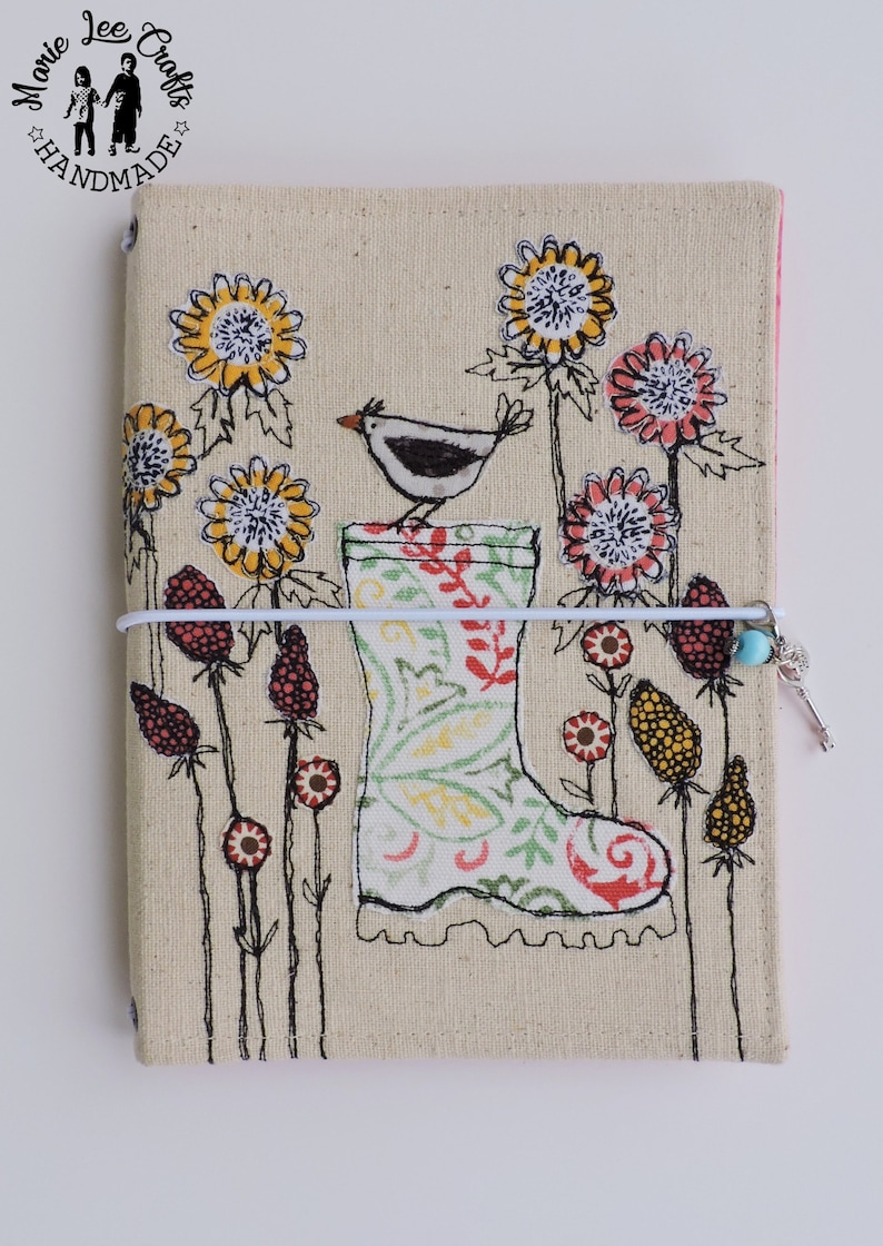 5cf068252b829 Bird on Boot Free-Hand Motion Embroidery Fabric Cover Faux Dori, Traveler's  Notebook, Travel Diary, Journal Cover, Planner Cover