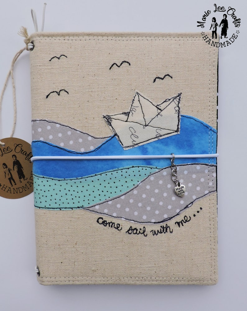 971af67a73797 Paper Boat Free-Hand Motion Embroidery Fabric Cover Faux Dori, Traveler's  Notebook, Travel Diary, Journal Cover, Planner Cover
