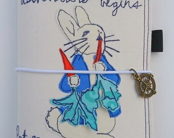 Peter Rabbit Traveler's Notebook Fabric Cover, Fabric Faux Dori Traveler's Notebook Cover, Free-Motion Embroidery Faux Dori, Travel diary