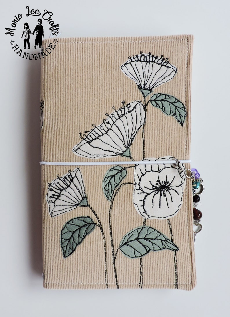 e344c76ad9580 White Poppies Travelers Notebook Fabric Cover, White Flowers Free-Hand  Motion Embroidery Fabric Cover Faux Dori,Travel Diary, Journal Cover