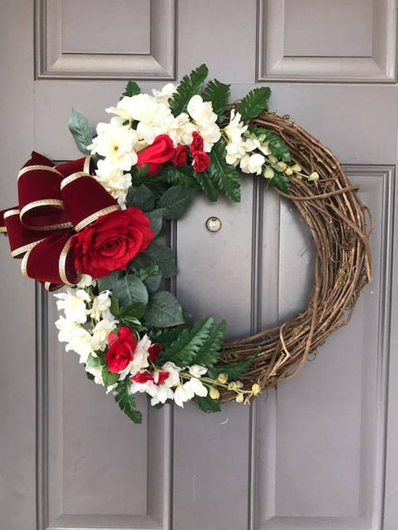 Vintage Red Rose Wreath Romance Wedding Decor Floral Grapevine Etsy