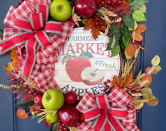Fall Apple Grapevine Wreath, Autumn Front Door Decor, Seasonal Porch Decoration, Thanksgiving Wall Hanger, Kats Creations Wreaths