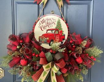 Christmas Red Truck Wreath, Holiday Front Door Decor, Xmas Pine Tree Farm Decoration, Truck Door Hanger, Winter Wreath Kats Creations 777