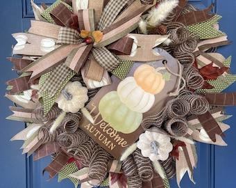 Welcome Autumn Wreath, Thanksgiving Front Door Decor, Fall Seasonal Porch Decoration, Harvest Pumpkin Wall Hanger, Kats Creations Wreaths