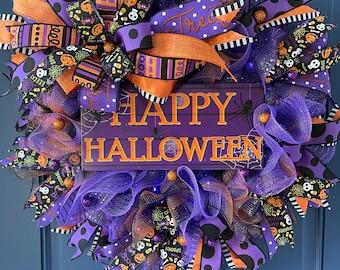 Happy Halloween Lighted Wreath, Trick or Treat Front Door Decor, Seasonal Porch Decoration, October 31st Wall Hanger, Kats Creations Wreaths