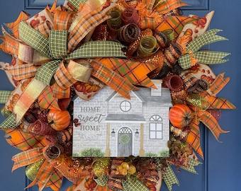 Fall Home Sweet Home Wreath, Autumn Front Door Decor, Seasonal Thanksgiving Porch Decoration, Harvest Wall Hanger, Kats Creations Wreaths