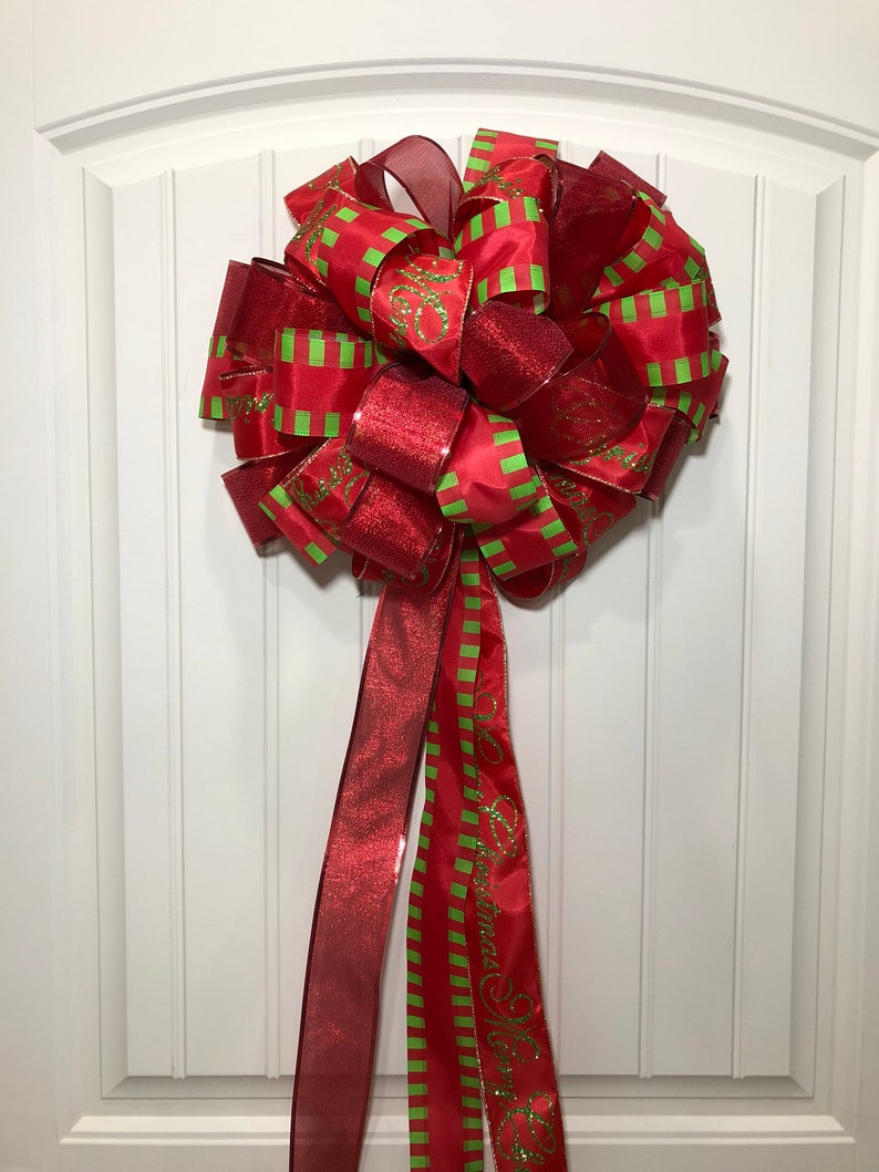 Car Christmas Tree Topper.Christmas Tree Topper Bow Red And Green Ribbon Bow Merry Christmas Giant Car Bow By Kats Creations 777
