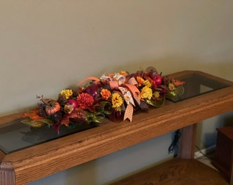 Fall Floral Centerpiece, Autumn Front Door Wreath, Seasonal Table Runner, Thanksgiving Mantle Decoration, Pillar Swag, Kats Creations Wreath