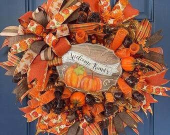 Fall Welcome Friends Wreath, Thanksgiving Front Door Decor, Seasonal Porch Decoration, Holiday Harvest Pumpkin Wall Hanger, Kats Creations