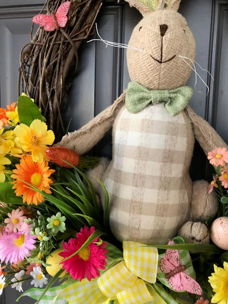 Spring Stuffed Easter Bunny Grapevine Wreath Decor by Kat/'s Creations Rabbit Floral