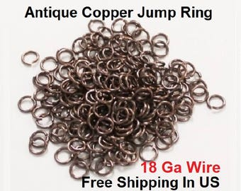 1 Oz Pack Antique Copper Jump Ring 16 Ga Wire OD  Size 6 mm To 10 MM Saw Cut -