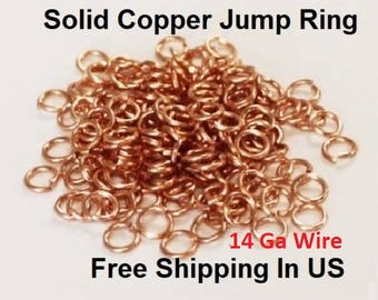 14 Ga Heavy Copper Jump Ring  (1 Oz Pack ) Saw Cut - (O/D  Size 7 mm To 12 MM )