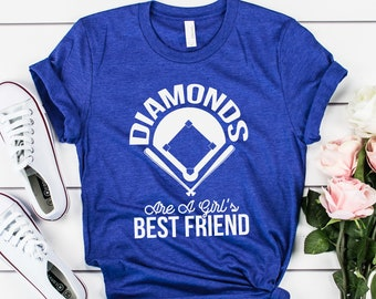 7430d181 Diamonds Are A Girl's Best Friend - Funny Softball Team Short-Sleeve Unisex  T-Shirt