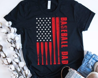 05a8b0df Proud Baseball Dad - American Flag- Father's Day Gift - Sports Short-Sleeve  Unisex T-Shirt