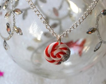 Christmas Lollipop necklace polymer clay, chain lollipop lollipop Christmas pendant, Christmas, Christmas jewelry, polymer clay Christmas lollipop