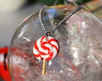 Polymer clay lollipop Lollipop Christmas necklace, chain Lollipop lollipop Christmas Lollipop lollipop Christmas Christmas fimo jewelry