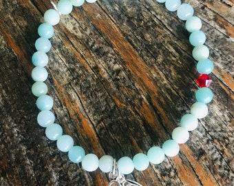 Amazonite bead stirrup bracelet, 4mm bead, dainty bracelet, gemstone stretch bracelet