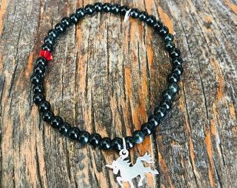 Obsidian bead bracelet, silver unicorn charm, 4mm, dainty stretch bracelet