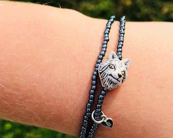 double wrap wolf face bracelet, luc and bell double wrap,