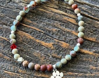 paw charm, jasper bead, 4mm gemstone, silver bead bracelet, dainty