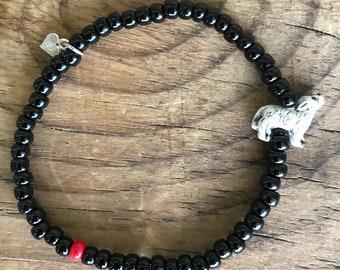 Bead Bracelet Howling Wolf - Stackable Bracelet