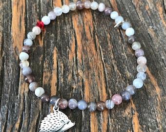 Celebrate your uniqueness -  Agate bead bracelet, silver hedgehog charm, 4mm, gemstone stretch dainty bracelet
