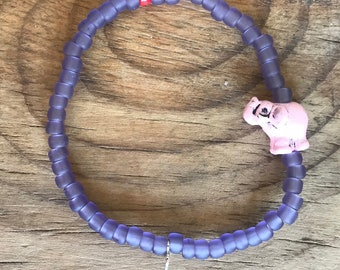 Bead Bracelet Pink Elephant - Stackable