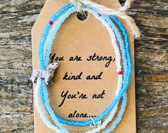 wolf bead bracelet stack