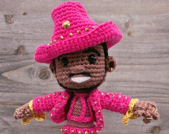 Pattern ONLY Rapper Inspired Crochet Doll Amigurumi Wearing His Pink Cowboy Suit Great for Fans