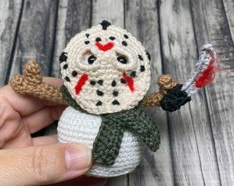 Horror Jason Snowman Crochet Amigurumi Pattern Christmas Winter Decoration for Horror Movie Fans