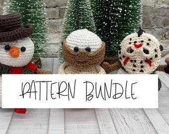 Horror Snowmen Bundle Multi Pack Three Patterns Jason Freddy and the Cannibal Crochet Pattern Easy Amigurumi DIY