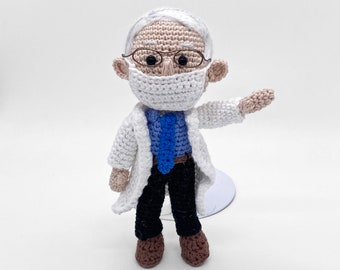 Pattern Crochet Dr. Fauci Amigurumi Doll with Fauci Ouchie Political Figure Health Professional Crochet Pattern