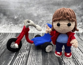 PATTERN ONLY Boy an His Imaginary Friend and his tricycle crochet pattern creepy cute great for horror lover fans amigurumi diy pattern