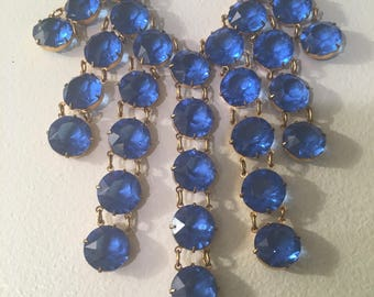 1940's Beautiful cut blue glass statement necklace