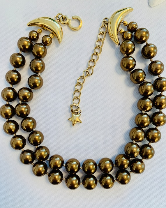 Vintage 1980's double strand of luxurious bronze c