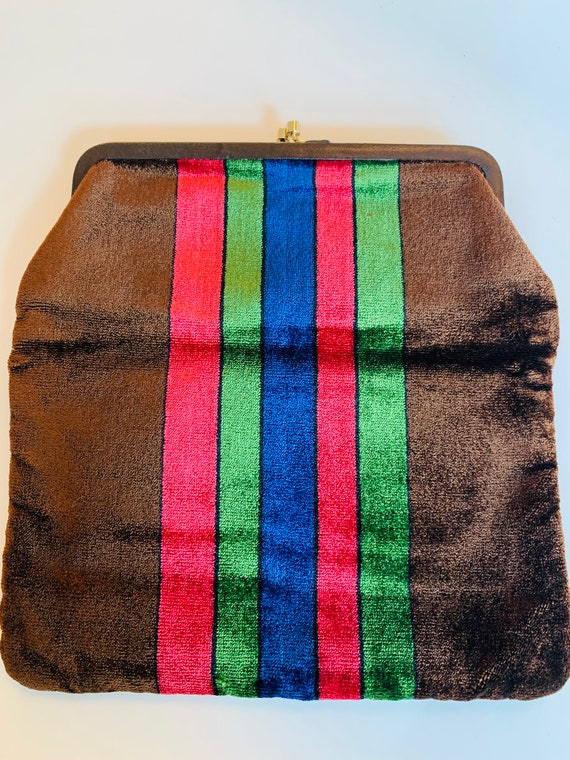 Vintage Italian 1970's, velvet clutch bag... so c… - image 1