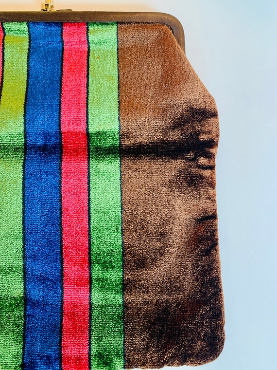 Vintage Italian 1970's, velvet clutch bag... so c… - image 3