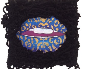 The leopard lips. Small canvas 30*30* 4 cm. Acrylic and oil with wool worked by hand patch. Pop lips original painting