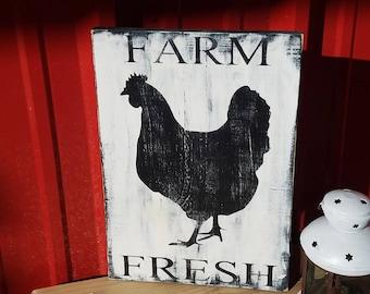 Farm Fresh - Rustic Decor  - Farmhouse Decor  - Country Decor  - Rustic wood sign  - Farm - Chicken - Country Kitchen -  Wood sign - Eggs