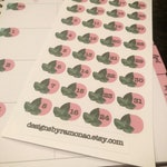Ivy Numbers | Journal Numbers for Undated Books | Green Ivy Leaf with Black Numbers in Pink Circles