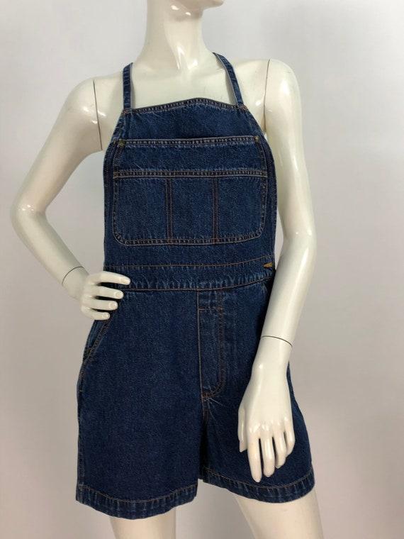 1990s denim overalls/90s jean overalls/90s short … - image 3