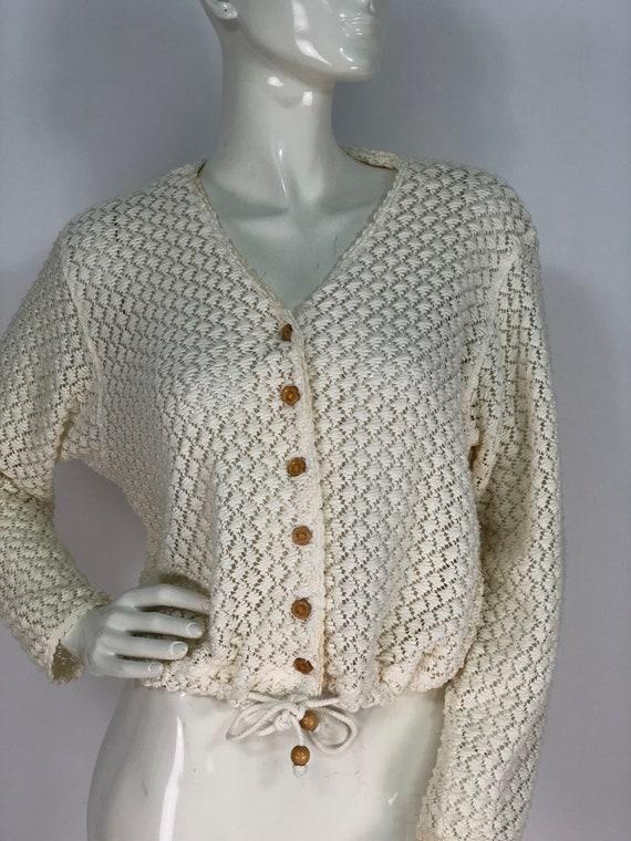 90s crocheted top/cotton crochet top/cream cotton