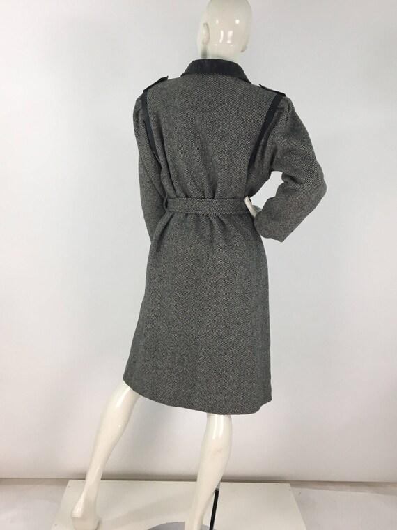 1980s salt n pepper tweed wool jacket tie waist - image 5
