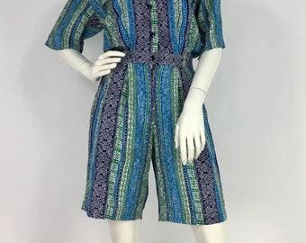 80s jumper/1980s Andrea Gayle Petites romper/80s short jumpsuit
