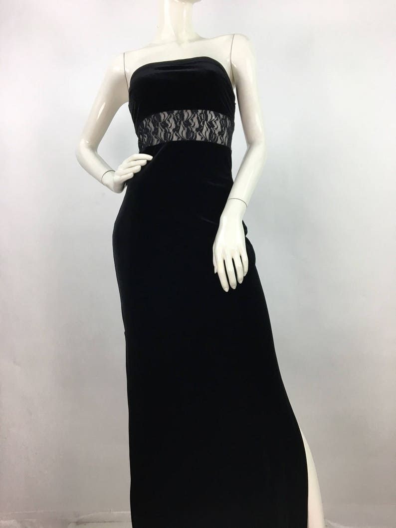 56f62e87537 Vintage prom dress 90s black velvet maxi 90s maxi dress