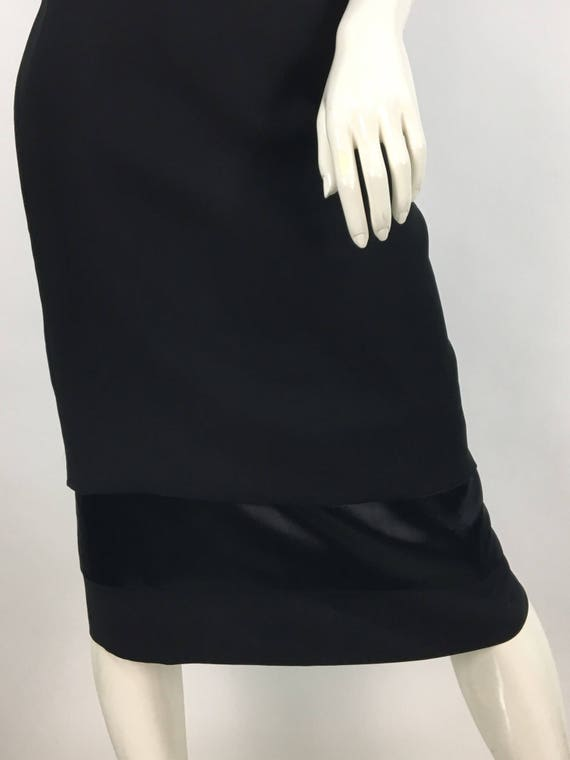 1980s black polyester pencil skirt, 80s business p